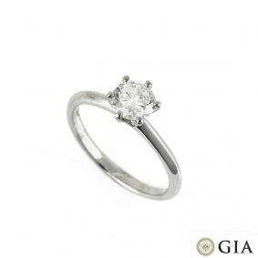 18k White Gold Round Brilliant Cut Diamond Ring 0.74ct I/SI1